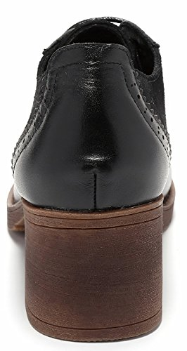 Round Leather Genuine toe Oxfords Brouge Perforated Womens Dress Mid heel Black lite up Pump Suede Shoes Lace U xOHIz