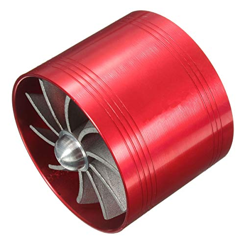 Viviance Universal Single Supercharger Turbine Turbocharger Air Intake Fan Fuel Gas Saver - Red: