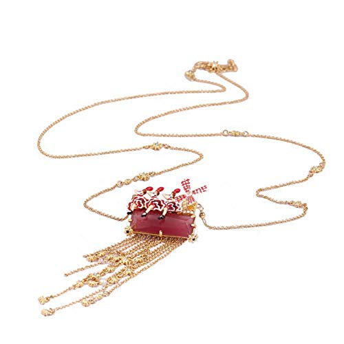 JIN European and American 珐 Lang glazed female ballet lady pinwheel star stream, so long sweater chain Pendant Necklace For Womens
