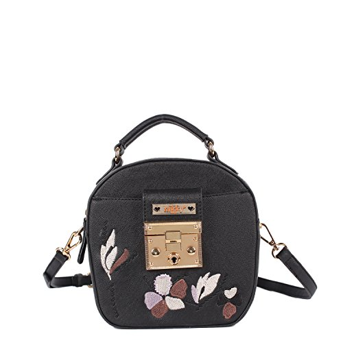 ef78168c1b39 Nikky Women's Embriodered Floral Design Crossbody Cross Body Bag, Black,  One Size