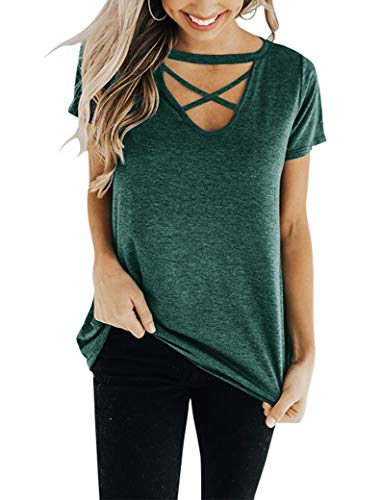 Cross Womens V-neck T-shirt - Floral Find Women's Short Sleeve Criss Cross Tops Casual V Neck Choker T Shirt Tees