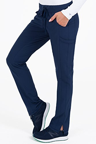 Med Couture Women's 4-Ever Flex Stretch 2 Cargo Pocket Slim Fit Scrub Pant, Navy, Small