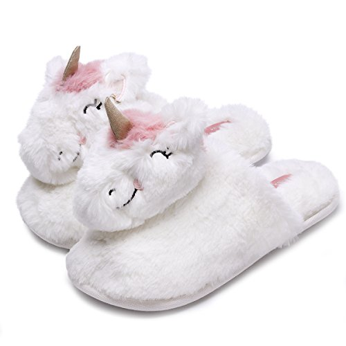 Classic Bunny Slippers | Fuzzy Slippers for Lovers | Cozy Fun Plush Indoor Shoe | Soft Sole Clog | Warm Anti-Slip House Slippers for Women (5.5-6.5, Unicorn) by Caramella Bubble