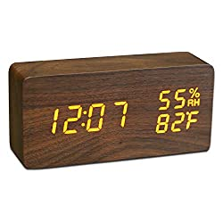 JCHORNOR Alarm Clock with Wooden,Wood Led 3 Level Warm Adjustable Brightness Desk Clock with USB Charger,Time Date Temperature Voice Control Humidity in 2 Display Model Clock for Home/Kid Room/Office