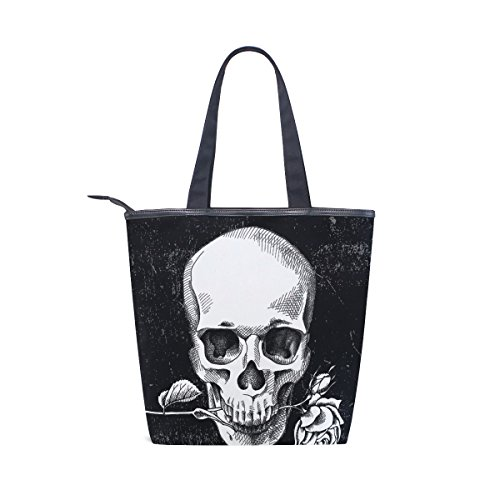 Womens Shoulder Tote Handbag Vintage Canvas And Bag Rose MyDaily Flower Skull EzqvcUdW