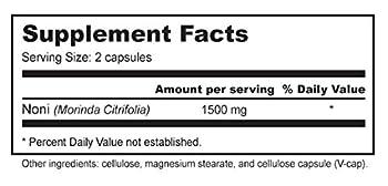 Noni Capsules - Organic Freeze-dried Tahitian Noni Morinda (750mg Per Capsule, 90 Veggie Capsules) 1