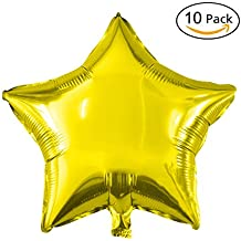 "18"" Star Balloons Foil Balloons Mylar Balloons Party Decorations Balloons, Gold, 10 Pieces"
