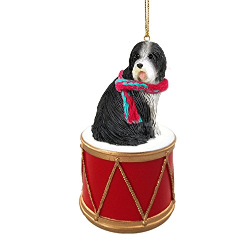 BEARDED-COLLIE-Dog-sits-on-a-DRUM-Christmas-Ornament-wGold-String-Scarf-DRD95