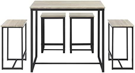 Abington Lane Kitchen Table Set - Versatile, Tall, Modern Table Set for  Kitchen, Dining Room, and Living Room (Washed Oak Finish, 4 Stools)