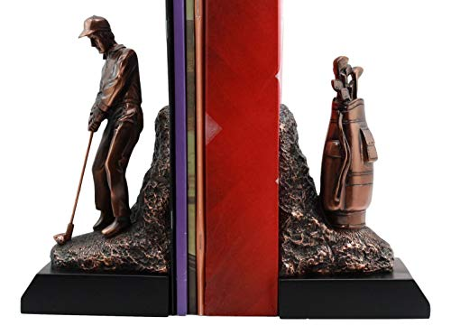 ShopForAllYou Figurines and Statues Professional Golfer and Golf Caddy Bag Bookends Set Statue 8.75