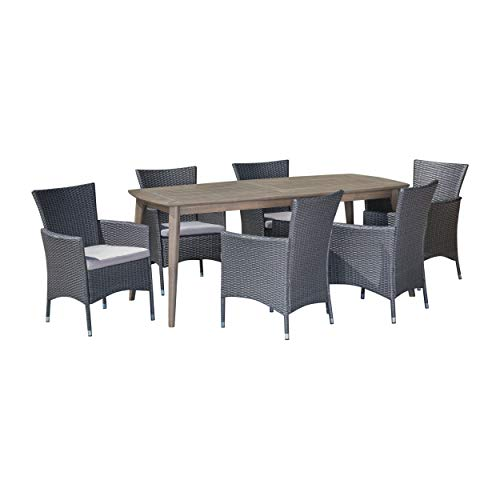 Great Deal Furniture 305175 Jerzie Outdoor 7 Piece Wood and Wicker Dining Set, Gray, Finish Silver