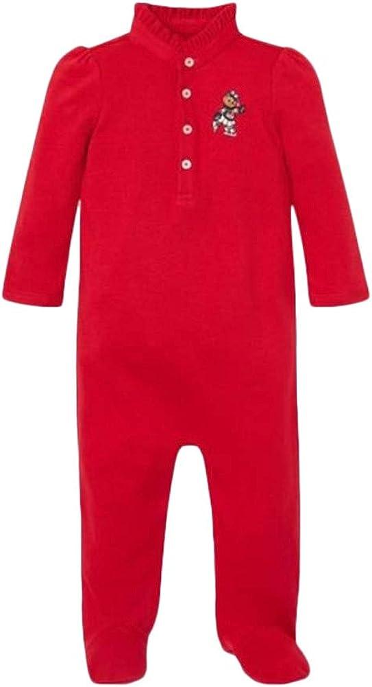 Ralph Lauren Polo Baby Girl's Polo Bear Christmas Romper Red 6 mo