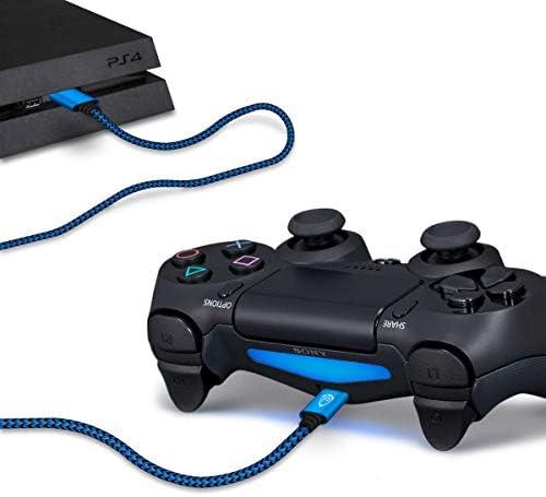 2X 4m Nylon PS4 Ladekabel für Playstation 4 Controller, Micro USB Kabel, Micro USB Ladekabel, Mikro USB, Stoffmantel, Aluminium Stecker, blau-schwarz 3
