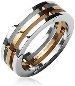 Stainless Steel 3 Piece Connected Flat Band Ring with Rose Gold IP Plated Center, Width 8MM - Crazy2Shop