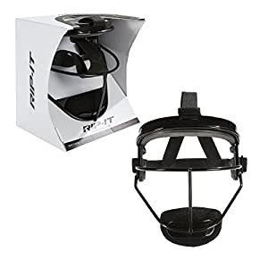 RIP-IT Defense Softball Fielder's Mask – Lightweight Secure Fit Provides Maximum Protection and Comfort – Does Not Obstruct View – Ponytail Friendly – Black – Adult