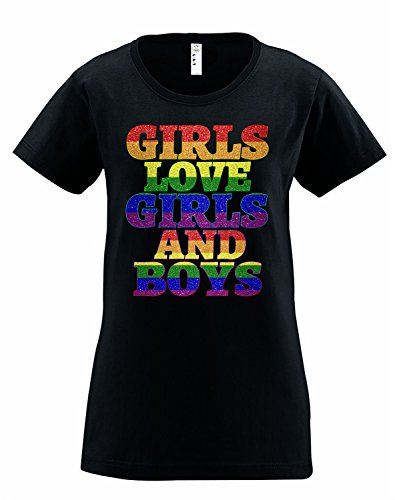 Girls Love Girls and Boys Panic Disco LGBT Gay Pride Womens Tshirt S (Disco Themed Clothes)