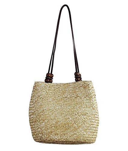 Tonwhar® European Style Straw Bag Purse Woven Summer Beach Tote (Natural) -