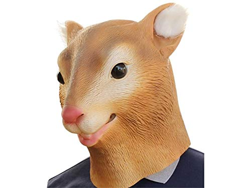Hezon Happy Festival Halloween Cute Squirrel Head Cover Mask Tricky Mask for Masquerade Birthday Party (Brown)