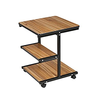 """Rolling Side End Tables Night Stand Coffee Table with Black Metal Frame (15.5""""L x 15.5""""W) from BARBALL -  - living-room-furniture, living-room, end-tables - 41DZ83q7NLL. SS400  -"""
