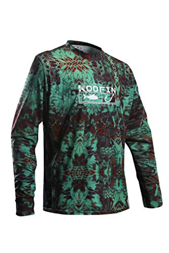 Performance Fishing Shirt Men UPF 50 UV Sun Protection Long Sleeve Quick Dry Cooling Rash Guard Kryptek Loose Fit Mandrake Large