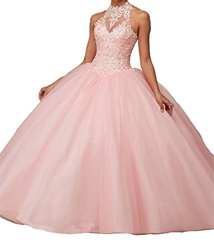 charmingbridal High Neck Lace Prom Pageant Ball Gown Quinceanera Dresses Pink,12