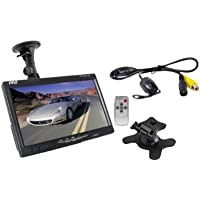 Automobile, Vehicle Pyle PLCM7700 7-Inch Window Suction Mount LCD Video Monitor with Universal Mount Rearview, Backup Color Camera and Distance Scale Lines New