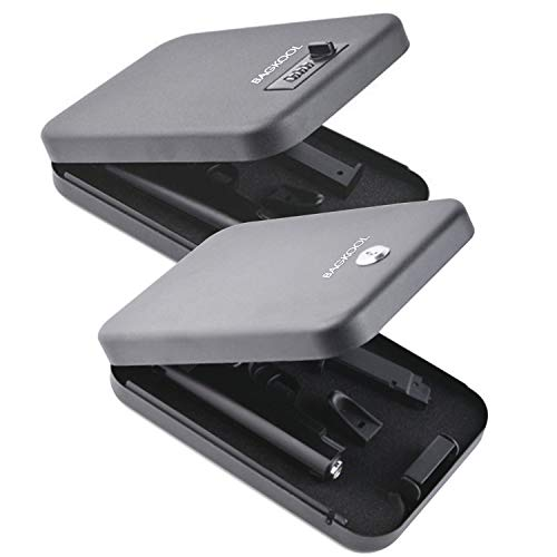 Pistol Safe,Portable Metal Travel Gun Safe Handgun Lock Security Box Case with Key Lock & 3 Digits Combination Lock (1pc Key Lock + 1pc Digits Combination Lock)