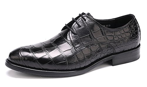 Leather Genuine Mens Lace Dress Oxford up Shoes Black Wingtip Z5qdnqz