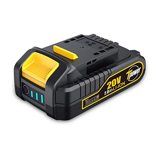 TECCPO 20V MAX 2.0 Ah Lithium Ion Battery-Pack, Rechargeable Replacement Battery, for All 20V TECCPO Cordless Power Tools - TDBP02P