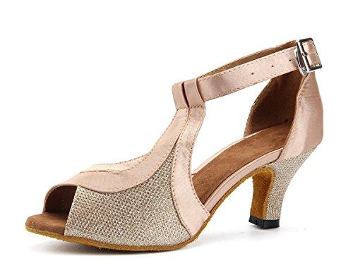 Miyoopark - Zapatillas de danza para mujer Champagne/Nude-6cm Heel