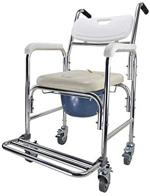 MMPY Silber-Legierung Multifunktionstoilettenstuhl, einfach zu bedienen, zu speichern und reinigt, Haushalt Durable beweglicher Faltbare Toilettenstuhl