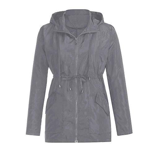 léger Veste de taille imperméable pluie capuche vert s avec couleur gris femme rqIUqxB