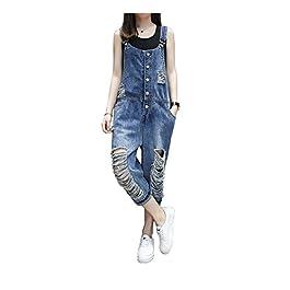 yiboolai Overalls for Women Baggy Denim Overalls Jumpsuit Sleeveless Romper Harem Jeans Pants