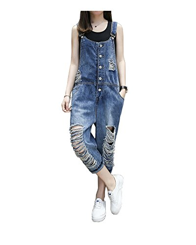 yiboolai Women's Classic Overall Baggy Denim Jumpsuit Sleeveless Romper Harem Jeans Pants, Blue, X-Large