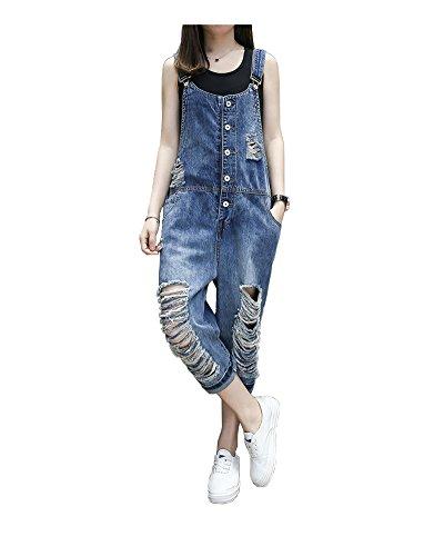 (yiboolai Women's Classic Overall Baggy Denim Jumpsuit Sleeveless Romper Harem Jeans Pants, Blue, Medium)