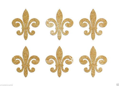 24 Gold Fleur De Lis Self Adhesive Glitter Stickers Card making craft diy 1 -