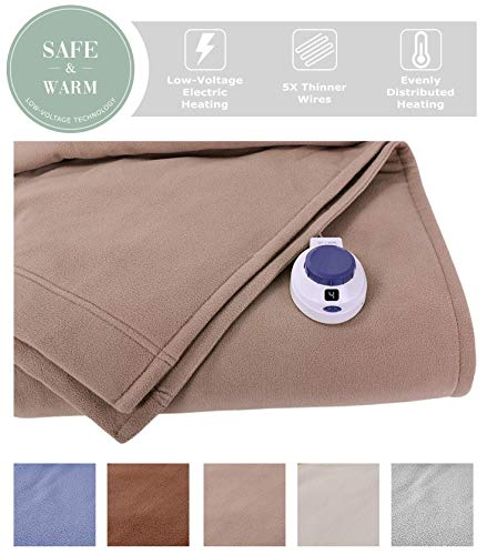 - SoftHeat by Perfect Fit | Luxury Fleece Electric Heated Blanket with Safe & Warm Low-Voltage Technology (Full, Beige)