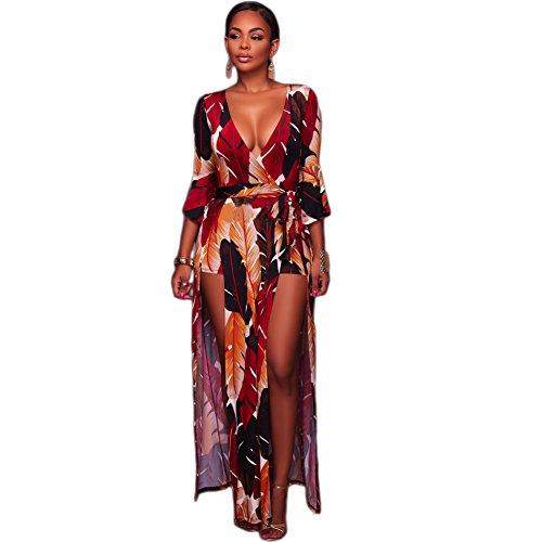 lexiart Romper Split Maxi Dress High Elasticity Floral Print Short Jumpsuit Overlay Skirt for Summmer Party Beach S-5X ¡ (2XL, Red Flower)
