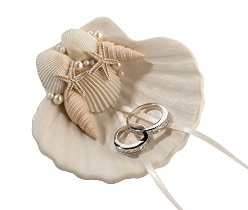 Lillian Rose Fashionable Ring Pillow Alternative Coastal Seashell Holder, - Beach Shell Wedding