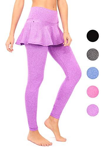 DEAR SPARKLE Skirted Leggings for Women | Yoga Tennis Golf Pants with Skirt Pockets + Plus Size (S9) (Purple, 3X-Large)