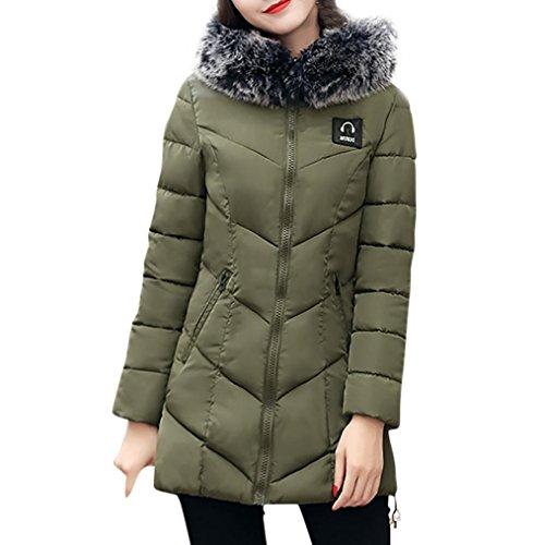 Mujer Plumas mujer Verde KaloryWee Chaqueta invierno ejercito delgado Abrigo de de cálido A2 Para de Parka abrigo 1xTwqHxO4