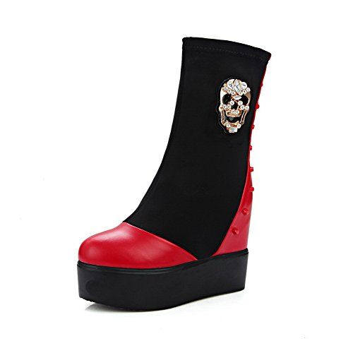 Allhqfashion Women's Low-top Pull-on Soft Material High-Heels Round Closed Toe Boots Red GnCL7h