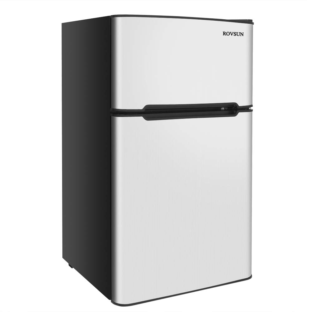 ROVSUN 2 Door Compact Refrigerator with Freezer, 3.2 CU FT Fridge Cooler with Ice Tray, Scraper