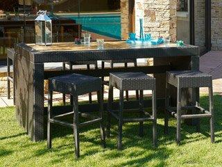 Salon de jardin résine tressée CUBA table 6 tabourets DCB Groupe PVC ...