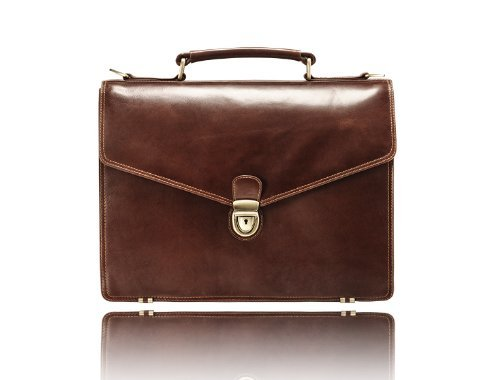 Visconti Leather Thor Front Lock Men's Business Case, Brown, One Size