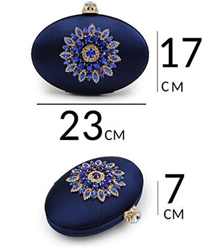 Las Redondas Púrpura Boda Del Diamante La De Garras De De Cristales Monedero De Caja Ovales Flores Color De Bolsos Mujeres Seda w7rRPqw