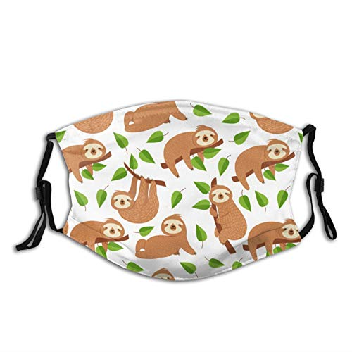 Jnsio Cute Baby Sloth Bear Tropical Face Mask with 2 Filter Pocket Adjustable Washable, Reusable Printed Mask for Men…