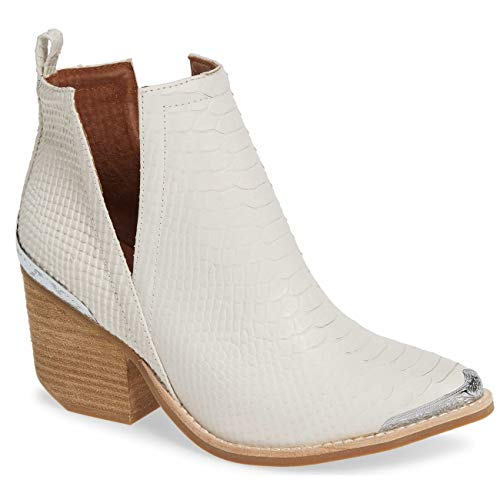 Jeffrey Campbell Cromwell Matte Snake White Snake Embossed Leather Boot 9.5 ()