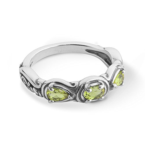 Carolyn Pollack Sterling Green Peridot Gemstone 3 Stone Ring Size 7 (Pear Peridot Ring)
