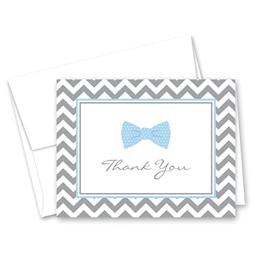 50 Cnt Little Man Bow Tie Baby Shower Thank You Cards (Blue)